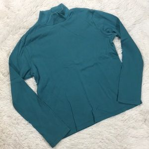 White Stag Teal Mock Neck Long Sleeve Shirt